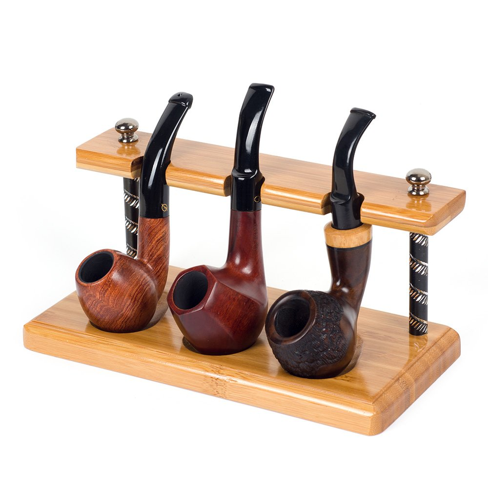 New Natural Bamboo Smoking Pipe Stand Rack Holder (For 3 pipes)