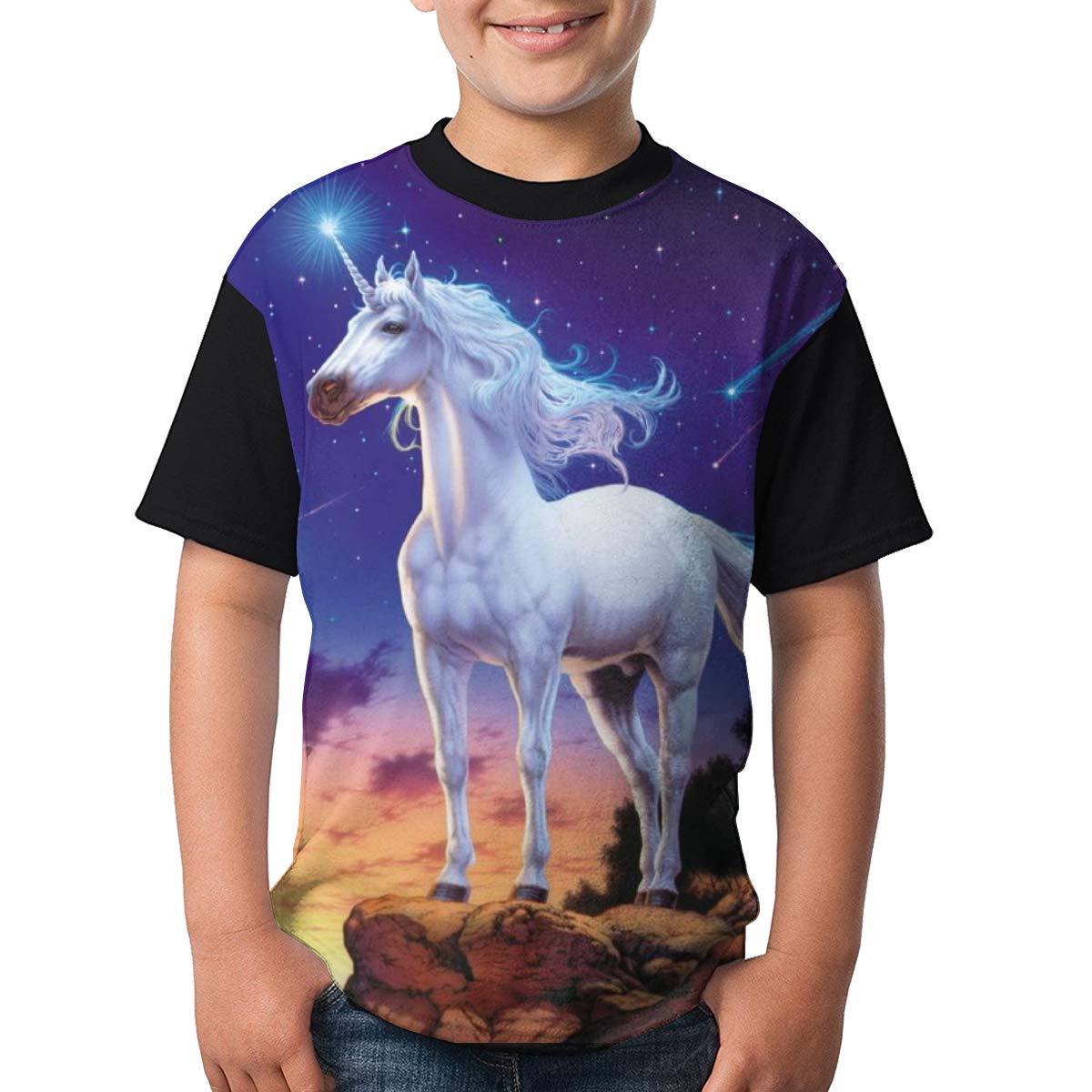 Toomny Boys Unicorn//Galaxy Short Sleeve T-Shirt