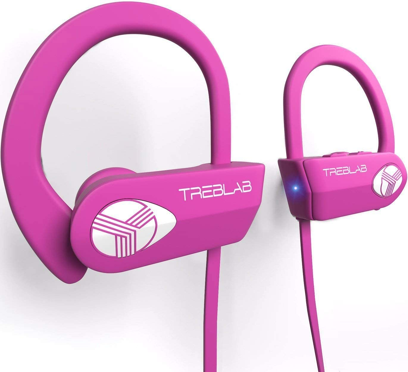 TREBLAB XR500 Bluetooth Headphones, Wireless Earbuds for Sports, Running Gym Workout. IPX7 Water Resistant, Sweatproof, Secure-Fit Headset. Noise Cancelling Earphones w Mic. Pink Renewed