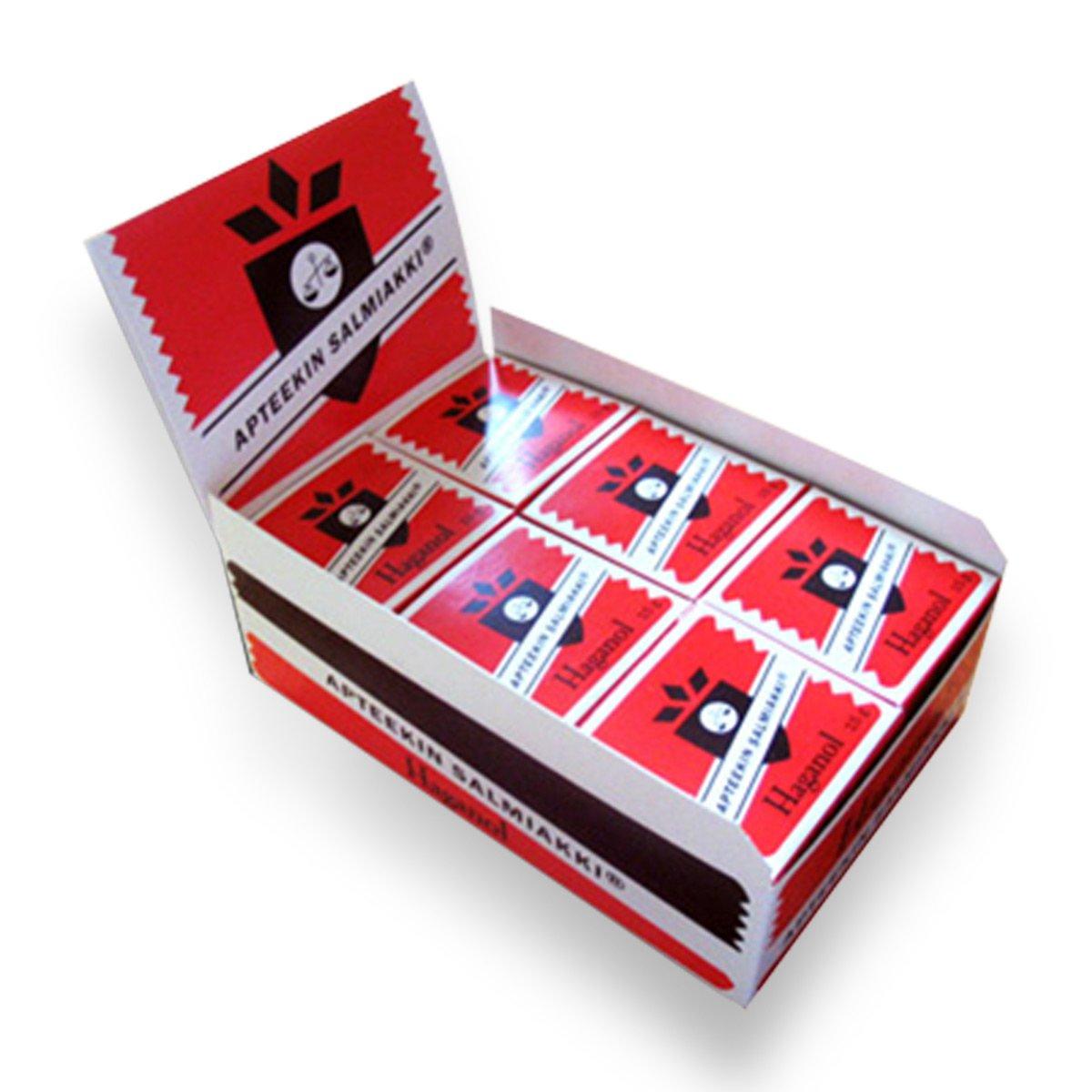 24 Boxes x 15g of Haganol Apteekin Salmiakki - Apothecary's Salmiak - Original - Finnish - Salty Licorice - Pastilles - Lozenges - Dragees - Drops - Candies - Sweets