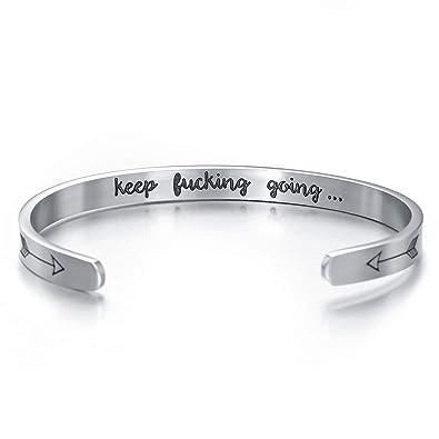 UK keep Fucking going Inspirational Letter Engraved Bracelet Cuff Open Bangle