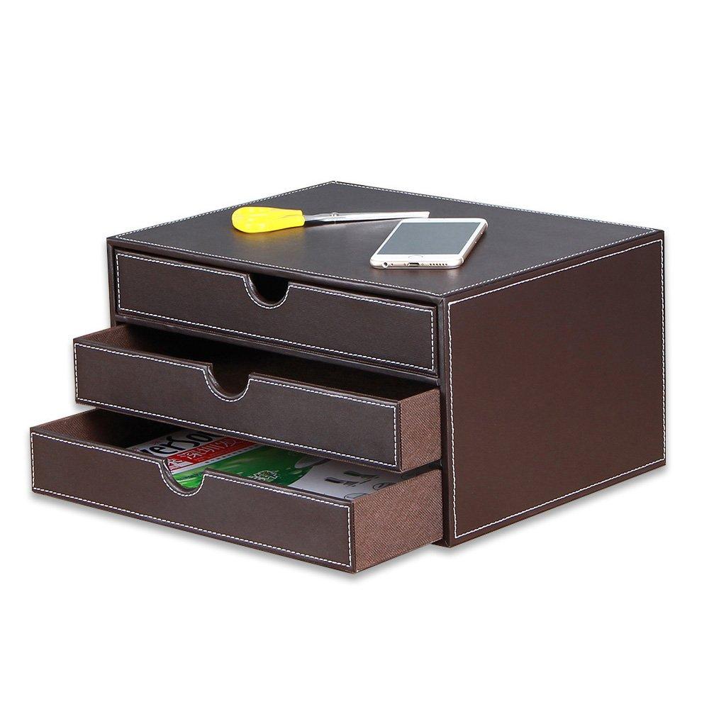 YAPISHI 3 Drawer PU Leather Office Desk Organizer Holder, Multi-functional Stationery Box (Brown)