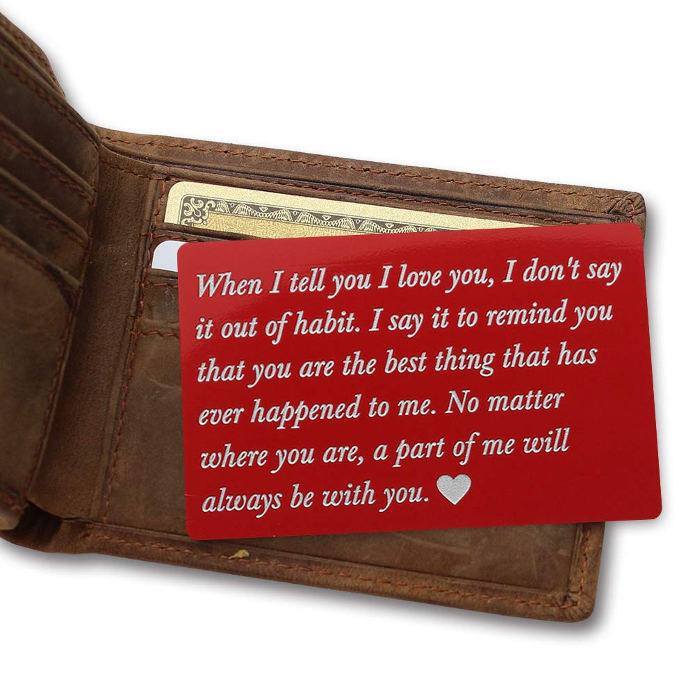 Personalized Metal Wallet Love Note Card, Husband Gift, Anniversary Gift for men Engraved metal card insert deployment gift for him Boyfriend Gift