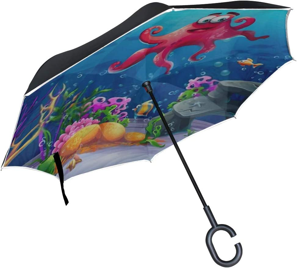 Double Layer Inverted Inverted Umbrella Is Light And Sturdy Beautiful Octopus Coral Colorful Reefs Algae Reverse Umbrella And Windproof Umbrella Edge