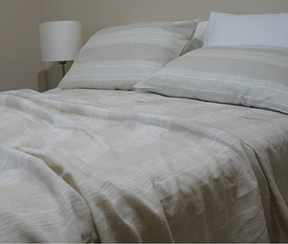 Linen Striped Bed Sheets, Dress Striped Linen Bed Sheets, , Top Sheet,  Fitted
