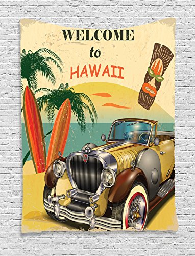 Ambesonne 1960S Decor Tapestry, Welcome To Hawaii Retro American