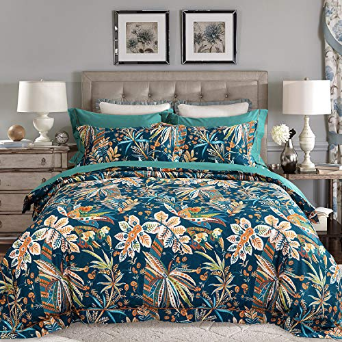 JELLYMONI Green Flower 100% Egyptian Cotton Duvet Cover Set,3 Pieces Leaves Pattern Floral Print Bedding Set with Double Zipper Closure. Reversible Duvet Cover King Size(104×90Inch)(No Comforter) ()