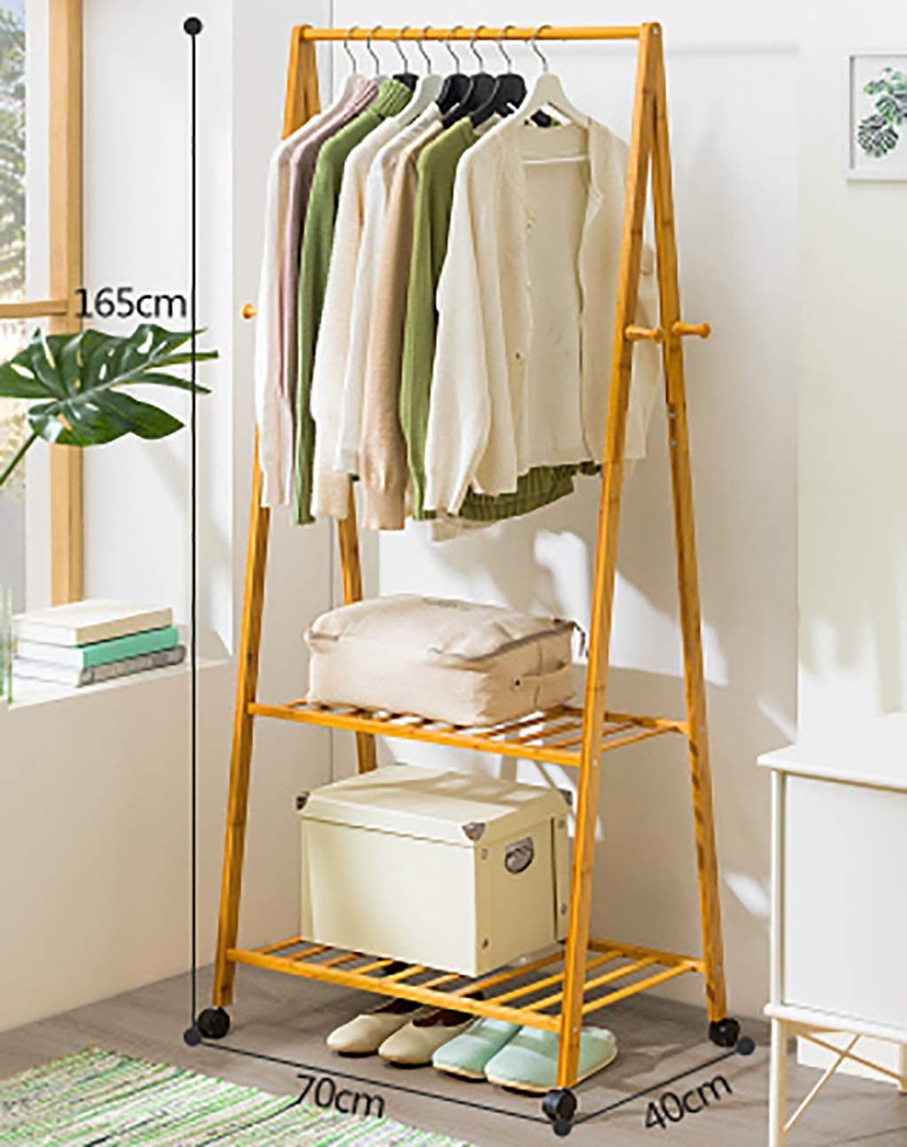 B 7040165cm Coat Stand,Housewares Standing Coat and Hat Rack Bamboo Wooden Creative Storage Shelves Hanger