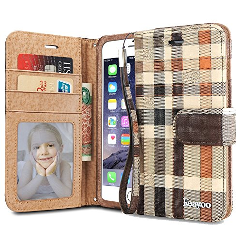 Price comparison product image iPhone 6s Case, iPhone 6 Case Wallet, Feayoo® [Wallet S] Stand Feature [Wristlet] Premium Leather Wallet Case STAND Flip Folio Cover with Strap for iPhone 6s (2015) / iPhone 6 (2014) (ED Brown)