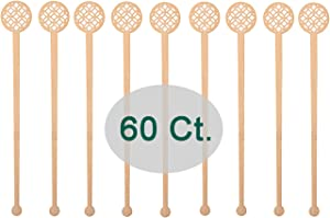 Sansnow Natural Bamboo Coffee Stir Sticks Hot/Cold Beverage Stirrers for Cafe/Bar Supply 60 Counts, 6.9