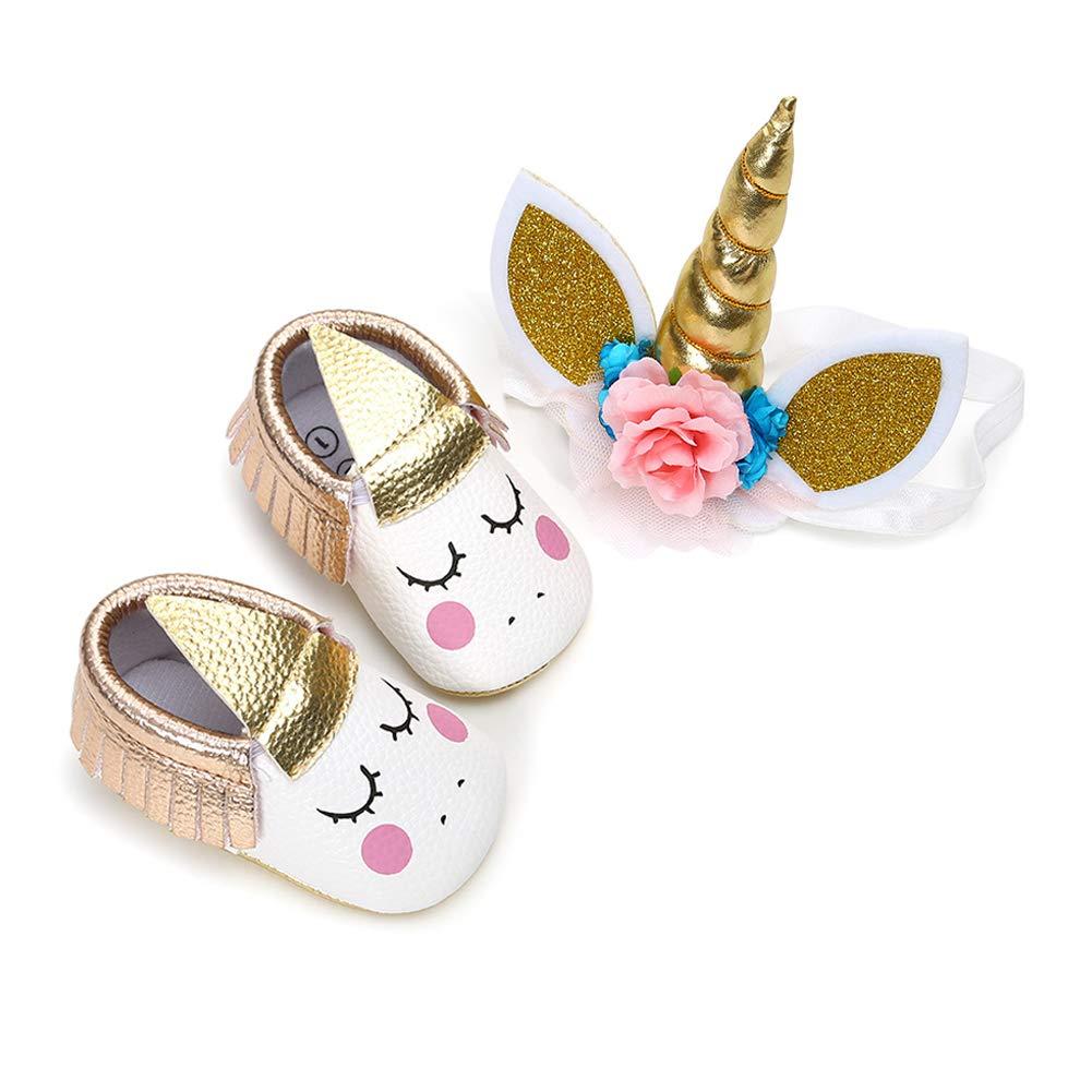 KaKaKi Infant Baby Girls PU Moccasins Bow Tassels Toddler Shoes with Elastic Bow Headband Set