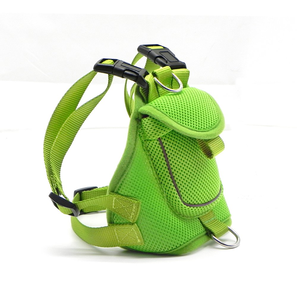 Wellbro Dog Backpack Harness, Small Mesh Dog Vest with Pocket, Soft Padded Pet Saddlebag, Reflective and Adjustable, For Walking, Camping and Hiking (S, Green)