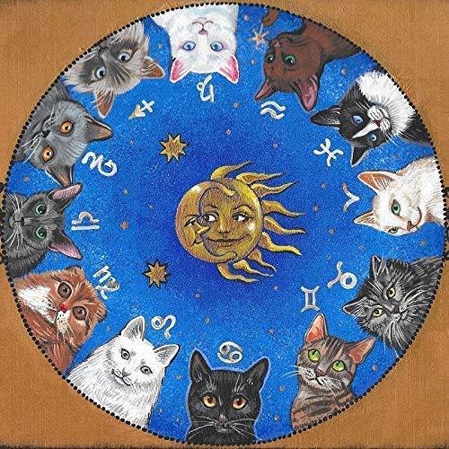 11x11 PRINT OF PAINTING RYTA ART HALLOWEEN BREEDS FINE WALL ART ASTROLOGY BLACK PERSIAN TABBY SIAMESE TUXEDO RUSSIAN BLUE CAT HOROSCOPE ZODIAC -