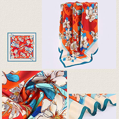 Tingting Square Scarf Scarves Blanket Bandanas Headwear Silk Twill Large Square Towel Four Seasons Manual Crimping Printing (Color : Orange, Size : 9090cm)