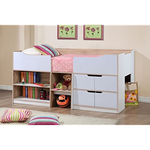 Kids Storage Bed For Happy Beds Paddington Cabin Bed Wooden White And Oak Storage Drawers Kids Children Frame 3 Beds Amazoncouk