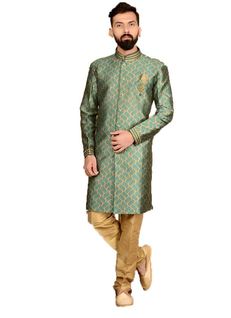 Indian Royal Designer Embroidered Jacquard Silk Festive Wedding Wear Sherwani for Men (7030) (44, Green)