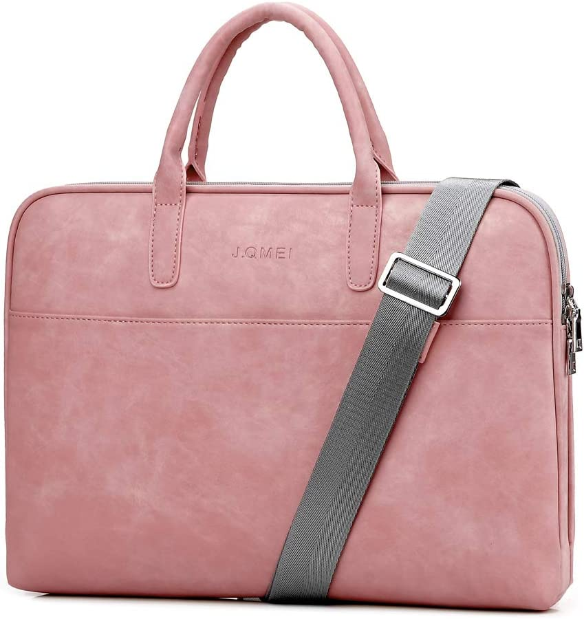SHUL Leather Laptop Shoulder Bag 14.6 inch Computer Case Sleeve Business Office Briefcase Messenger Bags Handbag for Women Ladies Pink