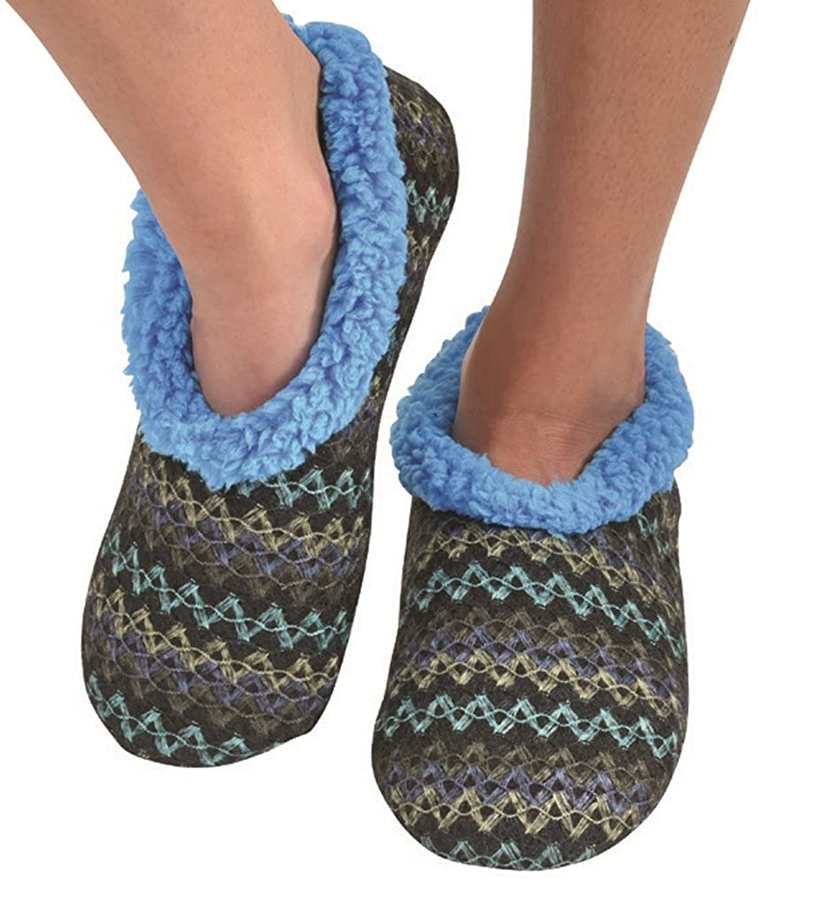 Snoozies Womens Wiggle Stripe Comfy Soft Fleece Slipper Socks SNZ-WST-PSKU