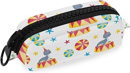 Estuche de lona con cierre de cremallera con sello de circo, sin costuras, para bolígrafos, cosméticos, bolsa de maquillaje, bolsa de manualidades: Amazon.es: Oficina y papelería