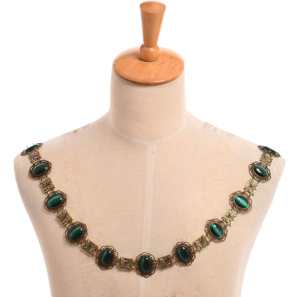 GRACEART Tudors Dynasty Necklace Chain of Office Livery Collar (Green Cabochons)