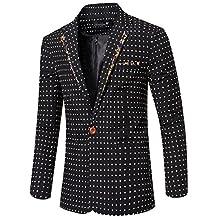 jeansian Men's Fashion Dot Printing Blazer Suit Jacket Outerwear Tops 9529