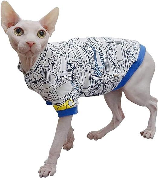JLCYYSS Moda de Gato sin Pelo y Camisas de algodón de Verano Transpirables y Frescas Ropa para Mascotas, Gatos y Ropa para Perros pequeños: Amazon.es: Productos para mascotas