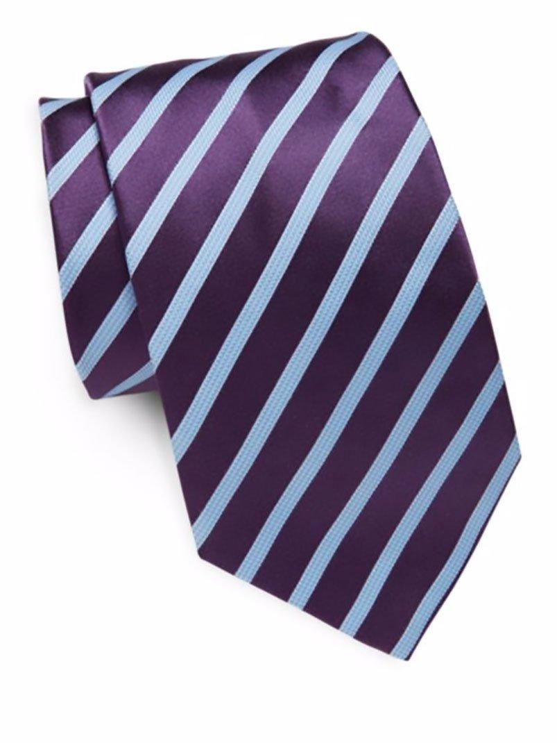Ike Behar Men's Silk Textured Stripe Tie, OS (Purple)