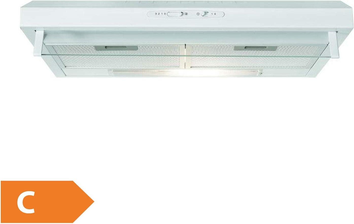 Bomann DU 623.3 Campana extractora 60cm, recirculación de Aire o por conducto, 3 Niveles Potencia, filtros extraibles de Aluminio Lavables, Blanca