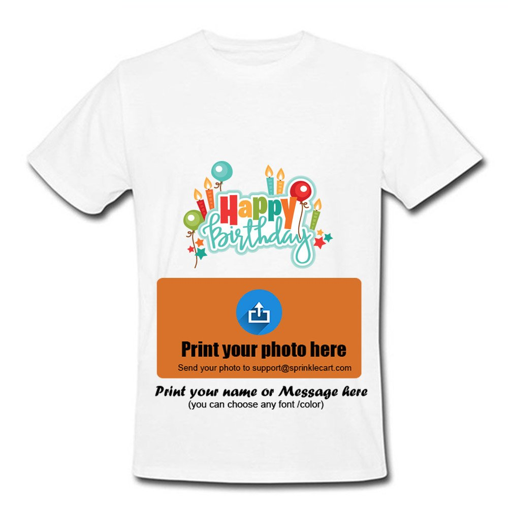 d3b8a62ca Sprinklecart Happy Birthday T Shirts Custom Photo Printed T Shirts - Design  3: Amazon.in: Clothing & Accessories