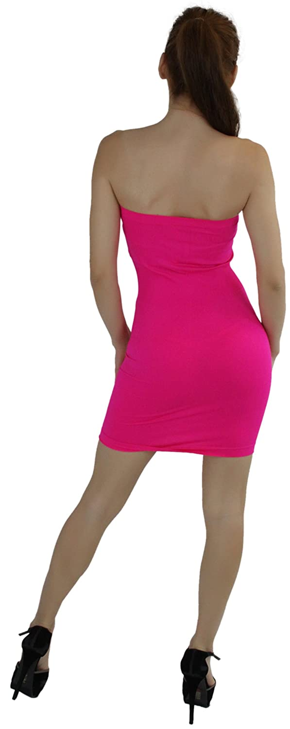 7e358ccaa0 Amazon.com  ToBeInStyle Women s Seamless Strapless Tube Dress (Hot Pink)   Clothing