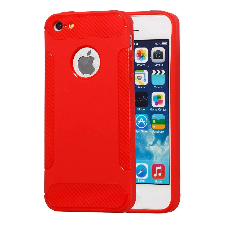 The Grafu Coque iPhone 5 / 5s Coque iPhone Se, Ultra Fine Silicone Housse Etui de Protection, Antichoc Case Cover pour Apple iPhone 5 / 5s / iPhone Se,Rouge