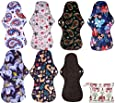 Simfamily 8 Pack Bamboo Charcoal Reusable Waterproof Cloth MenstruaL Pads Heavy Flow Over Night Sets(7Pcs Pads +1Pc Mini Bag)
