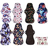Simfamily 8 Pack Bamboo Charcoal Reusable Waterproof Cloth MenstruaL Pads Heavy Flow Over Night Sets(7Pcs Pads +1Pc Mini…