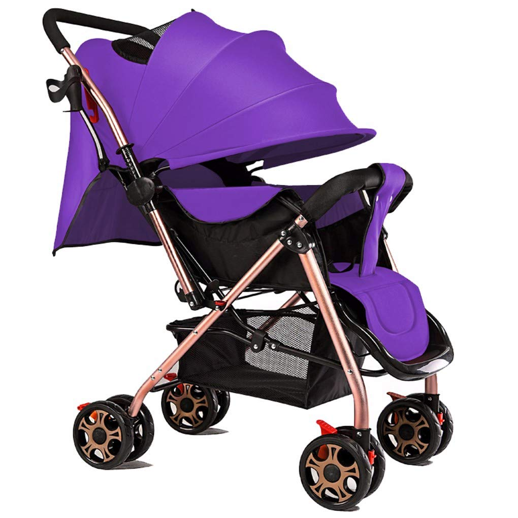 Gxinyanlong Easy to sit and Lay Down, Easy to fold 1-3 Year Old Baby and Child Portable Handcart,Violet