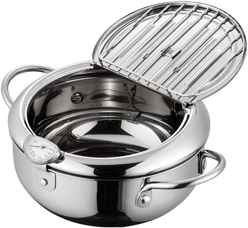 Deep Frying Pan, Japanese-style Tempura Deep Fryer With Thermometer, Lid And Oil Drip Drainer Rack, Nonstick Stainless Steel Fryer Pot for Kitchen Cooking - 10inch (Silver)
