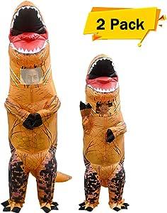 VAMEI 2pcs Disfraz Dinosaurio de Halloween traje inflable T-Rex ...