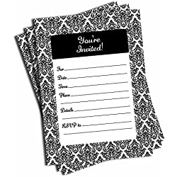 50 Black and White Damask Invitations - Wedding - Bridal Shower - Baby Shower - Birthday Party - Anniversary - Any Occasion