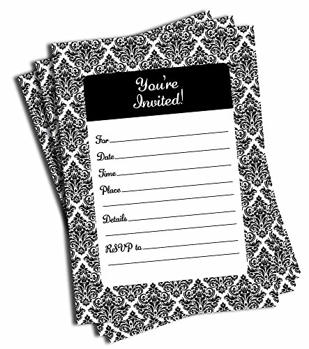 Wedding Invitations Black Damask - 50 Black and White Damask Invitations - Wedding - Bridal Shower - Baby Shower - Birthday Party - Anniversary - Any Occasion