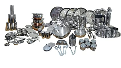 Buy Dynore Stainless Steel Dinner Set 148 Pieces Silver Online At