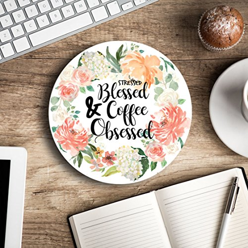 (Stressed Blessed & Coffee Obsessed - Christian quote - Inspirational Office Decor Mouse pad with design Pretty - Decorate your space - Gifts for women)