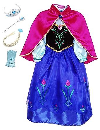YOSICIL Princesa Anna Disfraz Anna Frozen Niñas con Capa ...