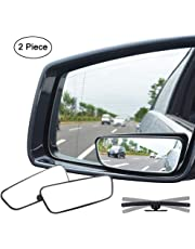 Ampper Rectangle Blind Spot Mirror, 360 Degree HD Glass and ABS Housing Convex Wide Angle Rearview Mirror for Universal Car Fit (Pack of 2)