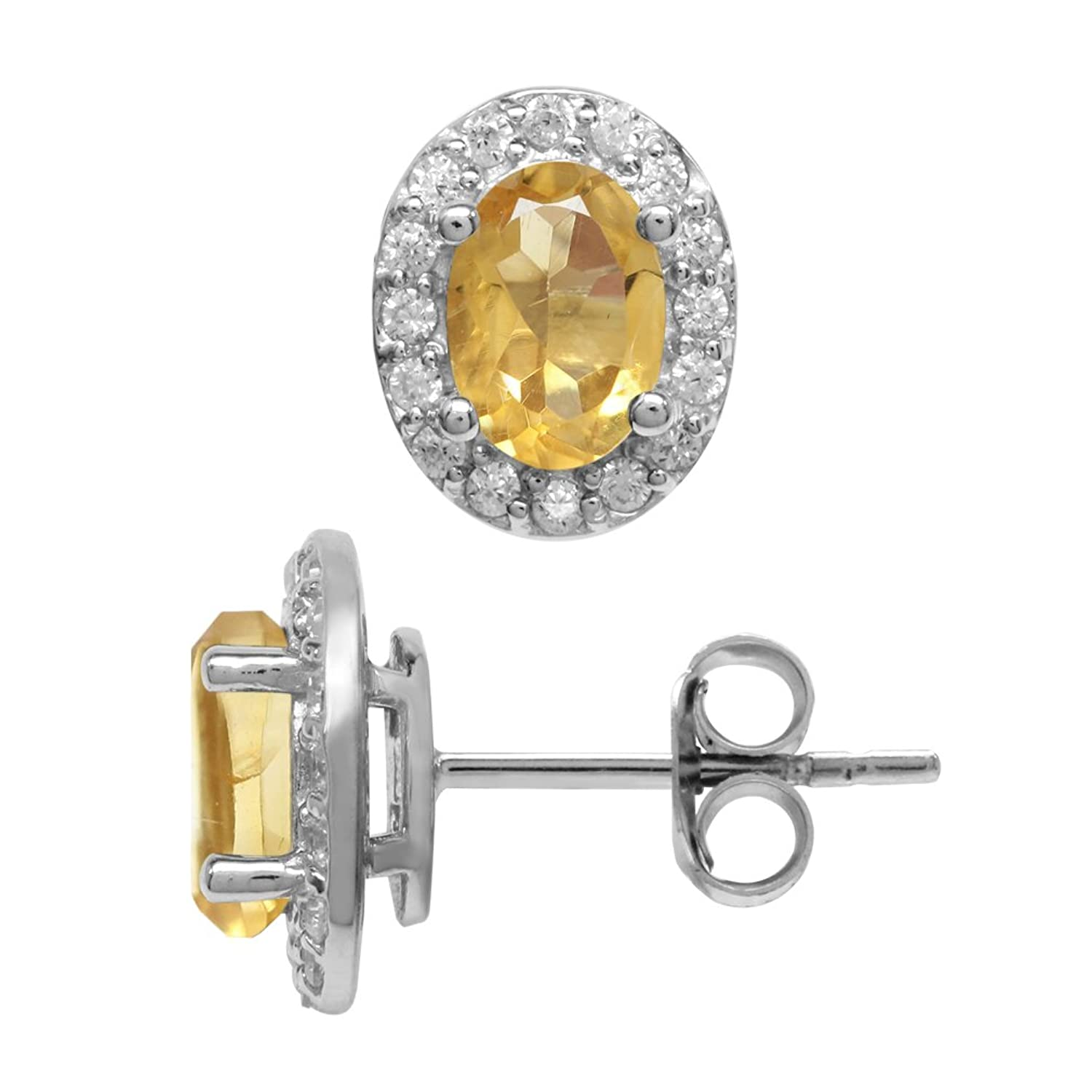1.42ct. Petite Natural Oval Shape Citrine White Gold Plated 925 Sterling Silver Halo Stud Earrings