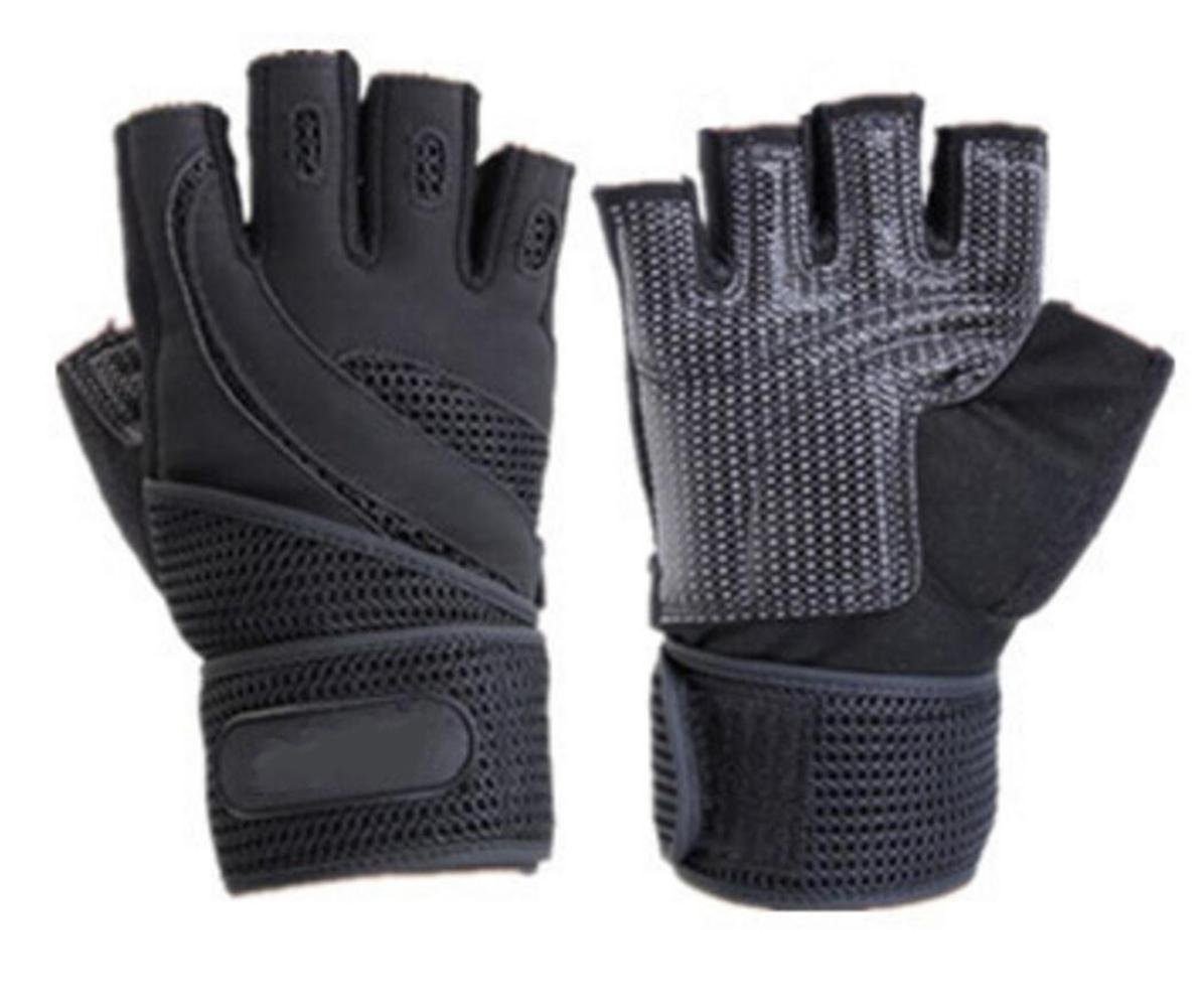WHEELCHAIR GLOVES MESH PADDED WEIGHT LIFTING HALF FINGER FITNESS BODYBUILDING