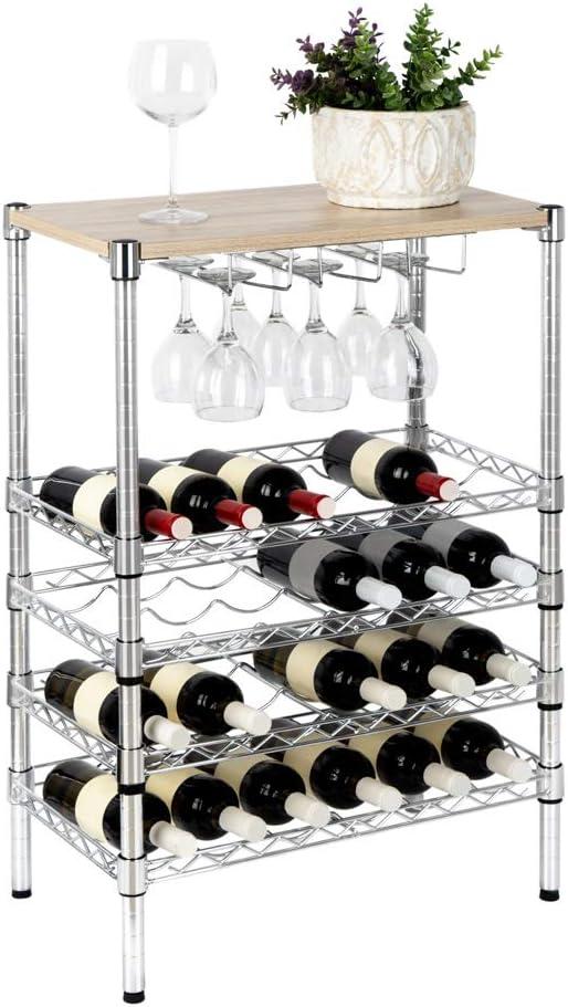 12 Botellas Patas Regulables Acero 32x45x30 cm Balvi Botellero Sommelier Color Cromado 3 Niveles Capacidad