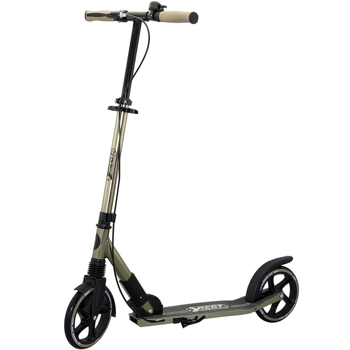 Sporting Scooter 205er Rolle High Class, City-Roller mit ergonomischem Lenker, Handbremse und Klingel, Tret-Roller in schwarz/Gold Best Sporting 30410