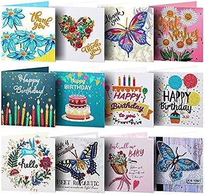 Prosperveil - Tarjetas de felicitación de cumpleaños hechas a mano con sobres en blanco para cumpleaños, Navidad, niños, manualidades, color 12 Pack: Amazon.es: Oficina y papelería