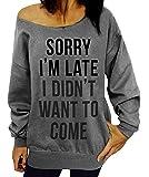 Dutebare Women Off Shoulder Sweatshirt Slouchy Wifey Shirt Long Sleeve Pullover Tops