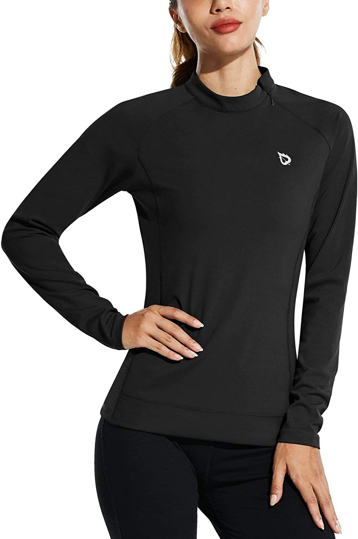 BALEAF Women's Athletic Pullover Long Sleeve Mock Neck Workout Tops for Running Golf