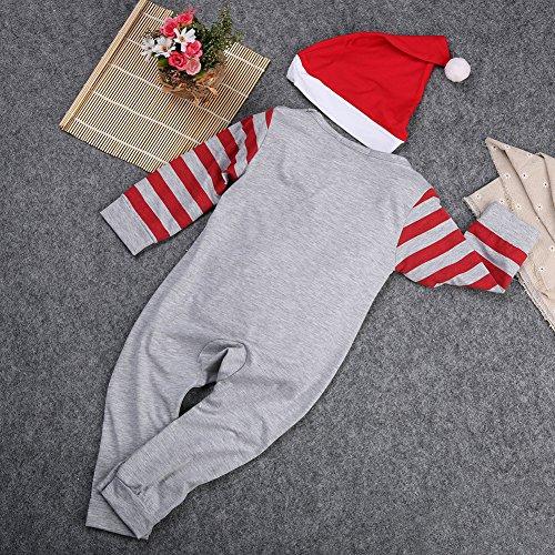 MowMee Baby Girls Boys Christmas Set Long Sleeve Romper,Boy Cap Girl's Hairband 2 pcs